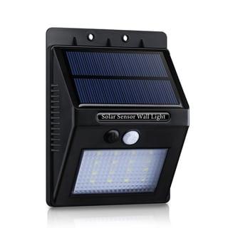 Solar Panel Powered Motion Sensor Outdoor Garden Security 320-lumen 16-LED Light with Diamond Lampshade (Set of 2)