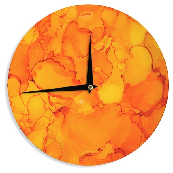 KESS InHouseClaire Day 'Yellow' Orange Wall Clock