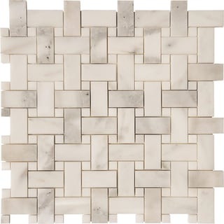 Calacatta Verde Polished Basket-weave Mosaic Tile (Set of 10 Sheets Per Box)