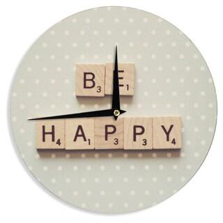 KESS InHouseCristina Mitchell 'Be Happy' Wall Clock