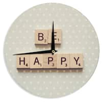 KESS InHouseCristina Mitchell 'Be Happy' Wall Clock
