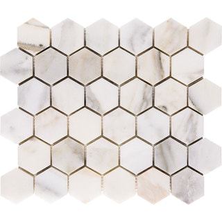 Calacatta Verde White and Grey Marble Mosaic Polished 2-inch Hexagon Tiles