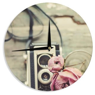 KESS InHouseCristina Mitchell 'I Have But Two Loves' Pink Tan Wall Clock