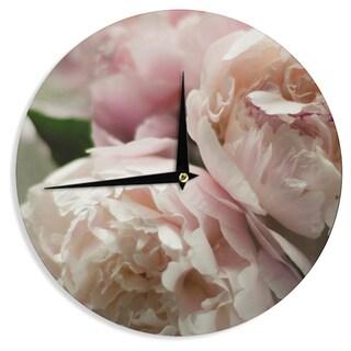 KESS InHouseCristina Mitchell 'Peonies' Pink White Wall Clock