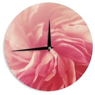 KESS InHouseCristina Mitchell 'Pink Petals' Floral Rose Wall Clock