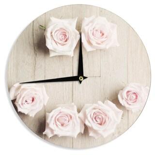 KESS InHouseCristina Mitchell 'Smile' Wood Roses Wall Clock