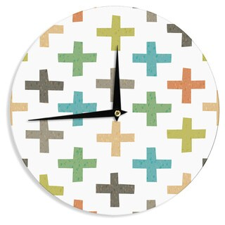 KESS InHouseDaisy Beatrice 'Hipster Crosses' Multicolor Wall Clock