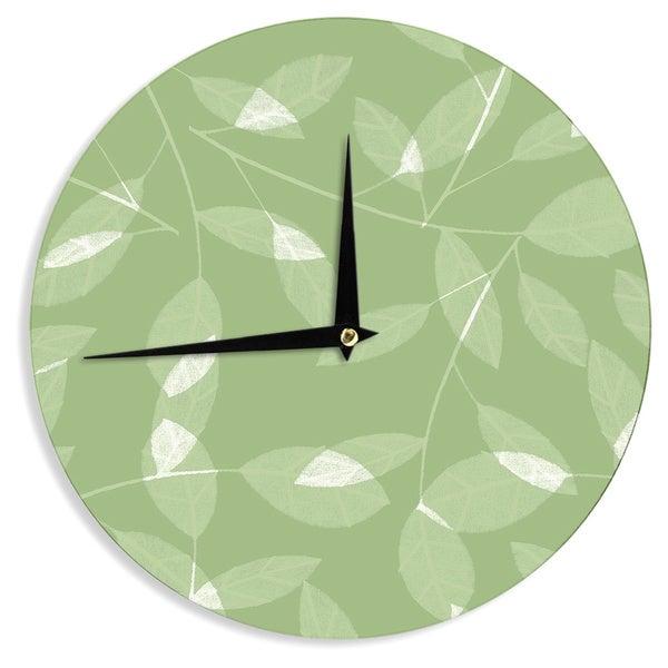 "Kess InHouse Alison Coxon ""Leaf Olive"" Green Wall Clock 12"""