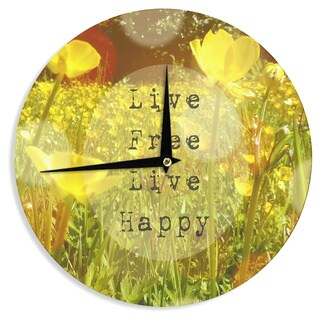 "Kess InHouse Alison Coxon ""Live Free"" Yellow Green Wall Clock 12"""