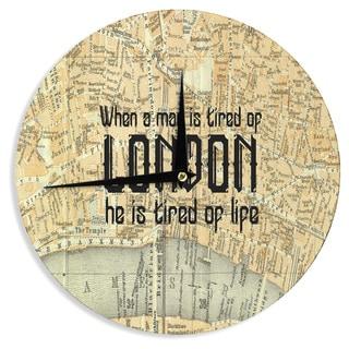 "Kess InHouse Alison Coxon ""London Type"" Map Wall Clock 12"""