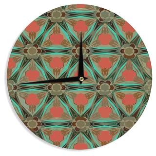 "Kess InHouse Alison Coxon ""Moorish Earth"" Teal Orange Wall Clock 12"""