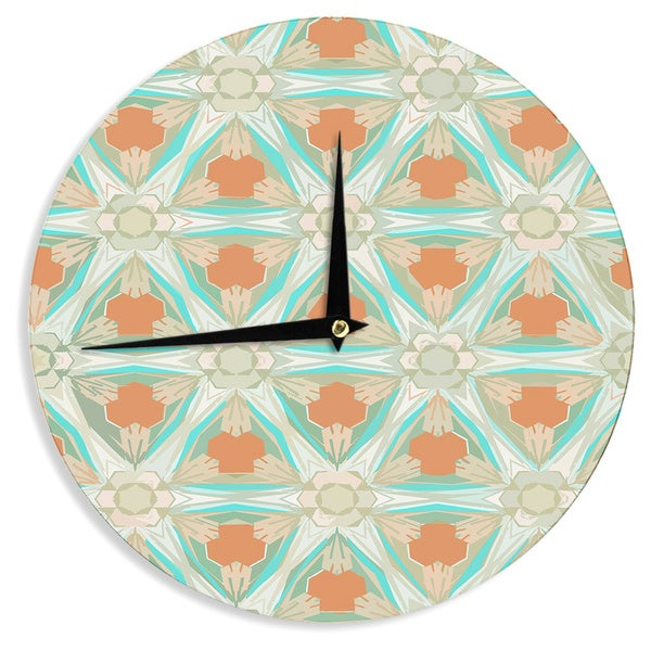 "Kess InHouse Alison Coxon ""Moorish Teal"" White Teal Wall Clock 12"""