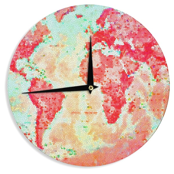 "Kess InHouse Alison Coxon ""Oh The Places We'll Go"" World Map Wall Clock 12"""