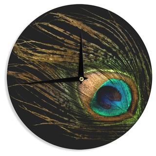 "Kess InHouse Alison Coxon ""Peacock Black"" Wall Clock 12"""