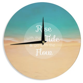 """Kess InHouse Alison Coxon """"Rise With The Tide"""" Teal Brown Wall Clock 12"""""""