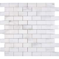 Calacatta Verde White Marble 1-inch x 2-inch x 3/8-inch Polished Mosaic Tiles