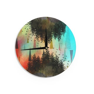 "Kess InHouse alyZen Moonshadow ""AS ABOVE, SO BELOW (TURQUOISE)"" Orange Teal Wall Clock 12"""
