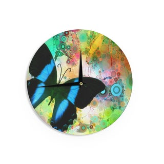 "Kess InHouse alyZen Moonshadow ""Colorful Blue"" Multicolor Butterfly Wall Clock 12"""