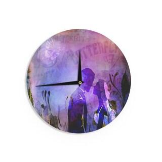 KESS InHousealyZen Moonshadow 'Couple In Love' Purple PinkWall Clock