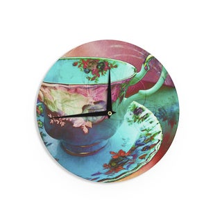 "Kess InHouse alyZen Moonshadow ""Mad Hatters T-Party VI"" Teal Pink Wall Clock 12"""