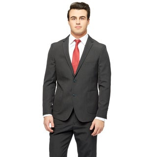 West End Men's Young Look Black Wool Feel Slim Fit 2-button Patch Pocket Suit
