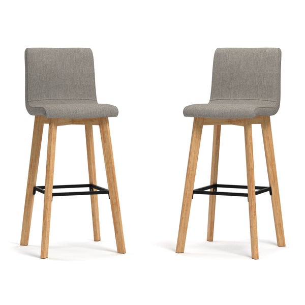 Handy Living Curved Back Dove Grey Linen 30-inch Bar Stools (Set of 2) - Free Shipping Today - Overstock.com - 19654679  sc 1 st  Overstock.com & Handy Living Curved Back Dove Grey Linen 30-inch Bar Stools (Set ... islam-shia.org