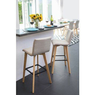 Handy Living Curved Back Barley Tan Linen 30-inch Bar Stools (Set of 2)