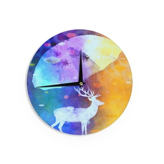 "Kess InHouse alyZen Moonshadow ""RAIN DEER"" Purple Yellow Wall Clock 12"""