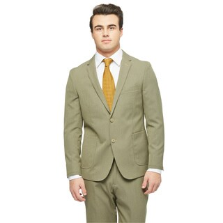 West End Men's Tan Polyester and Viscose Slim Fit 2-button Patch PocketSuit