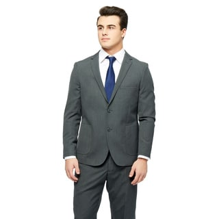 West End Men's Grey Young Look Slim-fit Wool-feel 2-button Patch-pocket Suit