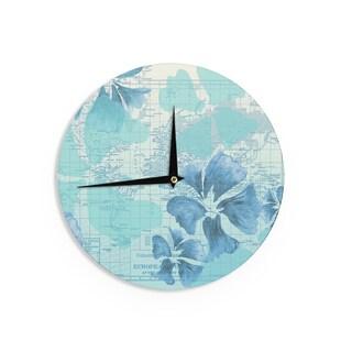 KESS InHouseCatherine Holcombe 'Flower Power Blue' Aqua Map Wall Clock