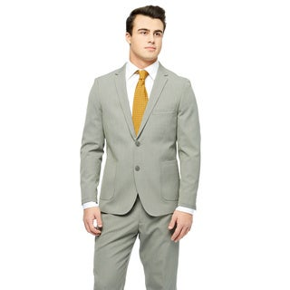 West End Men's Young Look Slim Fit Wool Feel 2-button Patch Pocket Sand Suit
