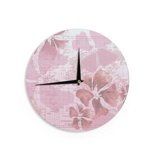 KESS InHouseCatherine Holcombe 'Flower Power Pink' Map Wall Clock