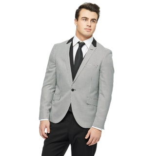 West End Men's Black Polyester and Viscose Young Look Slim Fit Peak Lapel Vested Suit