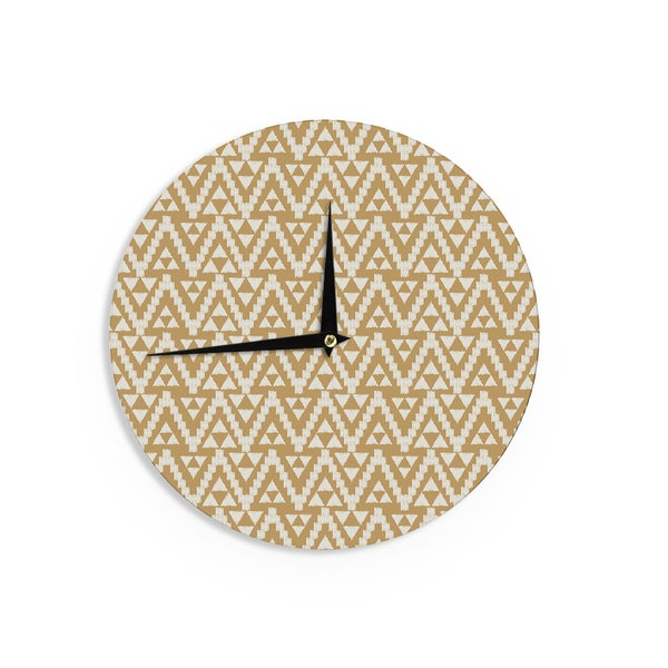 "Kess InHouse Amanda Lane ""Geo Tribal Mustard"" Yellow Aztec Wall Clock 12"""