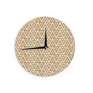 KESS InHouseAmanda Lane 'Geo Tribal Mustard' Yellow Aztec Wall Clock