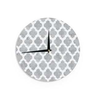 "Kess InHouse Amanda Lane ""Gray Moroccan"" Grey White Wall Clock 12"""