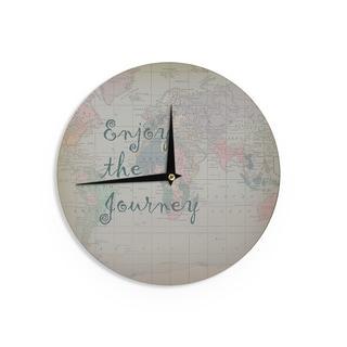 KESS InHouseCatherine Holcombe 'Journey' World Map Wall Clock
