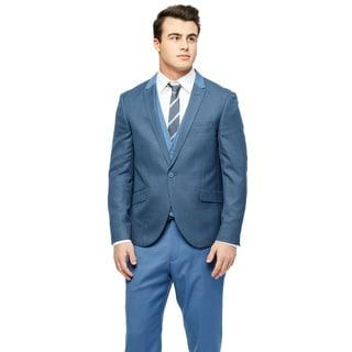 West End Men's Young Look Slim-fit Peak-lapel Vested Blue Suit