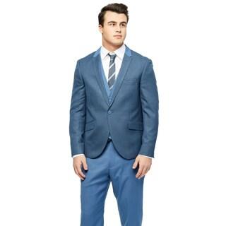 West End Men's Young Look Slim-fit Peak-lapel Vested Blue Suit (More options available)