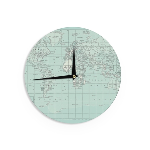 KESS InHouseCatherine Holcombe 'The Old World' Blue Teal Wall Clock