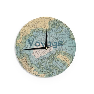 KESS InHouseCatherine Holcombe 'Voyage' Teal Map Wall Clock