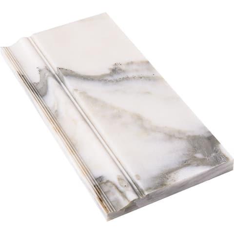 Calacatta Verde White Marble 6 x 12 x 3/4-inch Molding Base