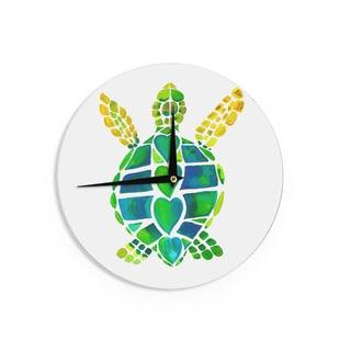 KESS InHouseCatherine Holcombe 'Turtle Love' Green Teal Wall Clock