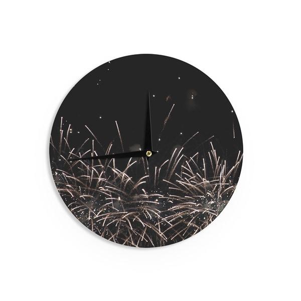 KESS InHouseCatherine McDonald 'Fireworks' Black White Wall Clock