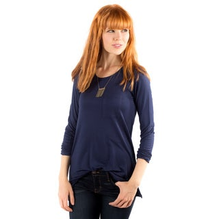 DownEast Basics Women's Blue Rayon and Spandex Pompeii Casual Top