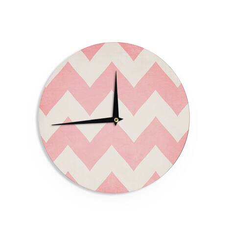 KESS InHouseCatherine McDonald 'Sweet Kisses' Pink Chevron Wall Clock