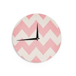 KESS InHouseCatherine McDonald 'Sweet Kisses' Pink Chevron Wall Clock