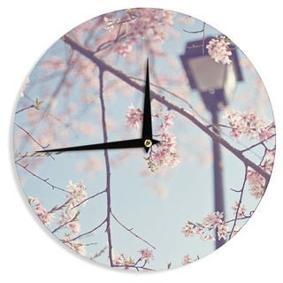 KESS InHouseCatherine McDonald 'Walk with Me' Cherry Blossom Wall Clock