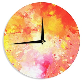 KESS InHouseCarolLynn Tice 'Splash' Orange Yellow Wall Clock